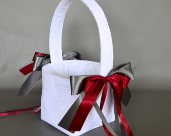 White lace wedding flower girl basket with burgundy wine and steel grey dark gray ribbons