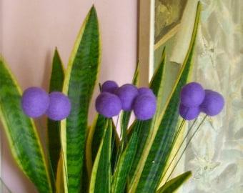 Purple wool Pom Pom flowers - felt flowers- handmade- home decor - Billy Balls
