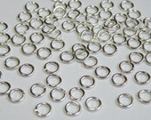 50 Jump Rings round shiny silver plated brass 6mm 18 gauge A4861FN
