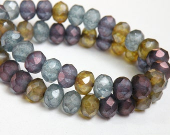 Czech Amethyst Gold Aquamarine Matte Picasso finish faceted multicolored Gem Colors glass rondelle 8x6mm half strand NR-229