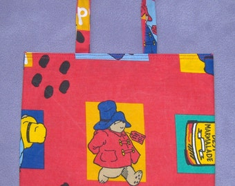 Red Paddington Childrens Cotton Shopping bag / Book bag / ToteBag