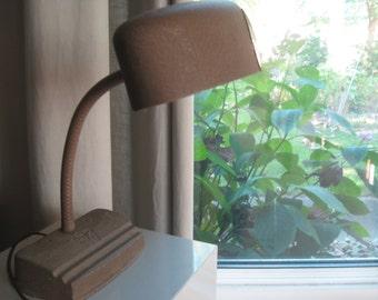Vintage Art Deco Cast Metal Goose Neck Adjustable Electric Desk Table Lamp Steampunk WORKS