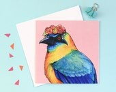 Motmot in a Floral Headcrown: Square Mexican Birds in Hats Greetings Card