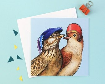 Nightingale & Lark in Elizabethan Dress: Square Romeo and Juliet Shakespeare Birds in Hats Greetings Card
