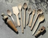 10 Pieces of Antique Wooden Kitchen Ware, handmade spoons, butter paddle, mandrel, bung, early 1900s