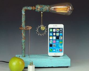 Dock for ANY iPhone AND table lamp. Recycled wood. Steam punk. Industrial. (676)