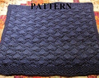 Knit Baby Blanket Pattern, Knitting Pattern, Chunky Yarn, Knit Purl Stitch Only, Chart Pattern Included **Instant Download**