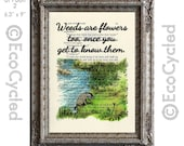 Eeyore Quote Weeds are Flowers Too on Vintage Upcycled Dictionary Art Print Book Art Print Classic Winnie the Pooh Book Lover Art