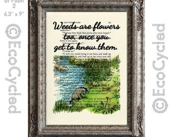 Eeyore Quote Weeds are Flowers Too on Vintage Upcycled Dictionary Art Print Book Art Print Classic Winnie the Pooh Book Lover Art Gift