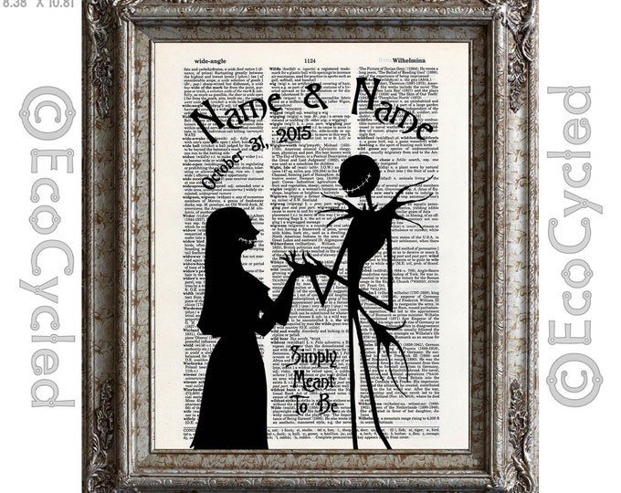 Nightmare Before Christmas 17 w/ Names & Date Jack Sally on Vintage Upcycled Dictionary Art Print Book Art Print Anniversary Wedding Custom