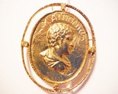 Large Marcus antonius brooch bright gold tone roman toga pin medalion