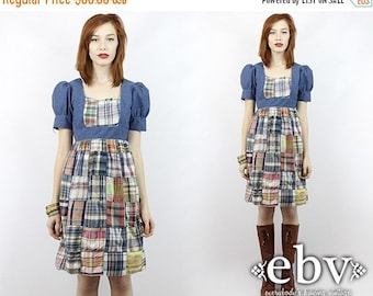 Vintage 70s Plaid Patchwork Babydoll Mini Dress Young Edwardian Dress Hippie Dress Hippy Dress Patchwork Dress Babydoll Dress Boho Dress