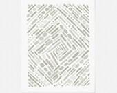 Neutral Abstract Art Print - Minimalist Graphic Wall Art - Mid Century Modern Artwork - 5x7, 8x10, 11x14 - Vertical or Horizontal