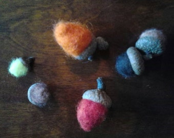 Group of 6 Needle Felted Acorns