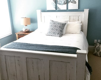 Bed frame/Wood bed frame/bedroom furntiture/reclaimed wood bed/rustic bed/shabby chic furniture/beach furniture/platform bed/headboard