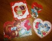 Valentines Vintage Lot of 4 Animal Theme