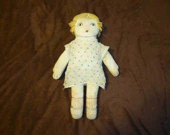 Cloth Doll Antique 1920s Handmade Embroidered Features and Original Dress