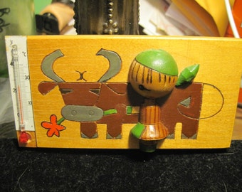 European Wooden Picture of Person Milking Cow  with Thermometer Designed in 3-D