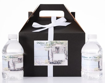 San Francisco Destination Wedding - 25 Sketched Skyline Wedding Favor Box / Wedding Welcome Boxes with 50 matching Water Bottle Labels