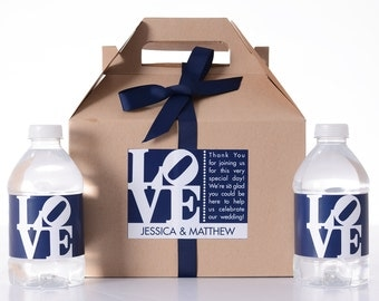 Hotel Wedding Welcome Box - 25 Wedding Welcome Boxes with 50 Matching Water Labels - Wedding Survival Kit - Wedding Favor Boxes