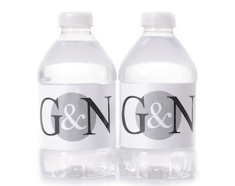 Personalized Wedding Water Bottle Labels - 200 Wedding Water Bottle Labels - Wedding Monogram Stickers