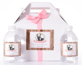 Wedding Guest Gift - 25 Wedding Favor Box / Welcome Box Labels Gable Wedding Box Set with 50 Water Bottle Labels - Rustic Wedding Gifts