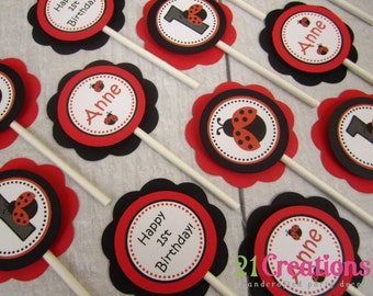 Ladybug Cupcake Toppers - set of 12