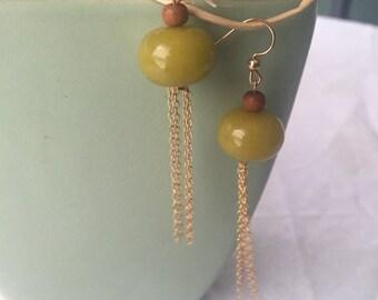 14ct Gold Earrings, Semi Precious earrings/ Dangle Earrings. Gold and green beads