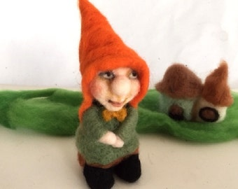 Needle felt gnome sitting handmade natural wool soft sculpture unique gift