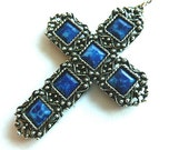 Mens Large Lapis Look Gunmetal Cross, Vintage Blue and Silver Cross Pendant, Statement Cross & Neck Chain