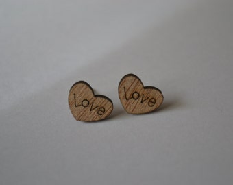 Wooden heart shaped stud earrings - under 10 - gift for her