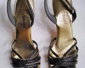 LABOR DAY SALE Awesome 60s Vintage Black High Heel Slingbacks Evening Pump-Balenciaga-Size 7Aa-