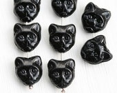 Black Cat beads, Black cat head, czech beads, glass cat, pressed, feline, 8pc - 1436