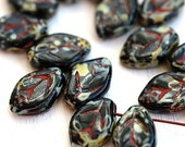 Picasso beads, Black leaves, picasso leaf beads, Czech glass beads, fall colors, 12x7mm - 25Pc - 1201