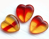 Huge heart beads, Red hearts, Mixed amber and red, czech glass hearts, pressed beads, true love - 24x22mm - 2Pc - 2390