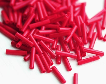 9mm Red Bugle beads, Toho size 3, Opaque Pepper Red, N 45,  japanese glass beads - 10g - S1108