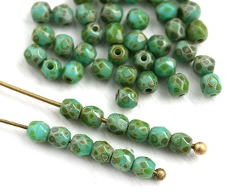 3mm fire polished beads Turquoise Green Picasso czech glass faceted beads, 3mm spacers - 50Pc - 1822