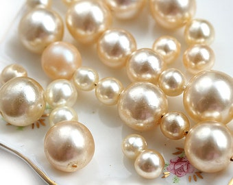 Pearl beads mix, czech glass beads, faux pearls, champagne, round pearls mix - 30gr - 1961