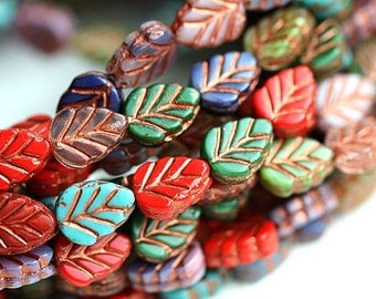 Leaf beads mix, Fall colors, Czech glass leaves, copper inlays, Red, Green, Purple, glass leaf - 11x8mm - 12Pc - 1450