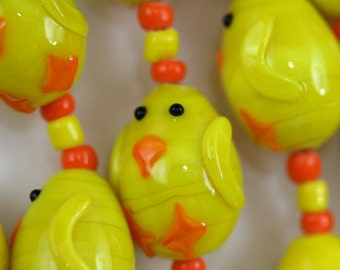 Easter Design Chick Lampwork Glass Beads, 12 Beads Pack L10111