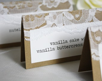 Mini Rustic Dessert Cards, Wedding Dessert Cards, Wedding Sweets Table, Sweets Table Cards, Sweets Table Signs, Rustic Wedding, Lace Wedding