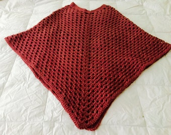 New!  Hand Crocheted Women's Poncho For Fall