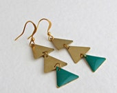 Green and Gold Triangle Earrings .. geometric, green earrings, minimalist, chevron, teal, delicate