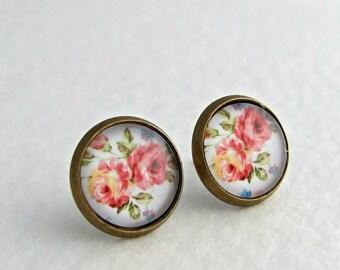 Pink Rose Earrings .. flower earrings, shabby chic, rose studs
