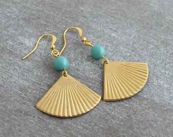 Gold Triangle Earrings .. aqua earrings, fan earrings, turquoise, geometric earrings, art deco, dangle earrings