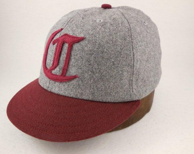 6 panel dark grey wool flannel cap. 1910s visor, Maroon visor, Hand cut felt logo, cotton sweatband, any size, custom made.