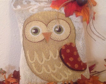 Fall Owl Tapestry Pillow Upcycled Placemat Ready to Ship Fall Decor Holiday Owl Pillow Upcycled Housewarming Cottage Handmade Owl Lover