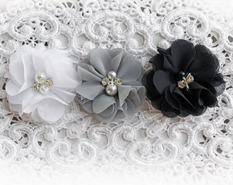 Reneabouquets Flower Set -Formal Colors - White, Gray, and Black Pearl And Rhinestone Flowers, Set Of 3