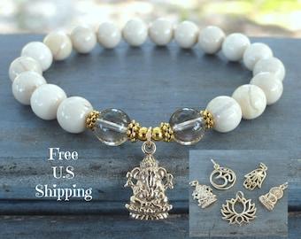 Grounding & wholeness, Smoky quartz, Jasper, gemstone bracelet, Yoga Bracelet, Om bracelet, lotus bracelet, buddha bracelet, Ganesha mala