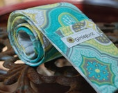 Camera Strap Cover, sleeve, 10% off with coupon code, Reversible SLR or DSLR -  2 pockets, padding -Teal Lime Scroll with Gray Chevron-